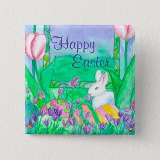 White Rabbit Happy Easter 15 Cm Square Badge