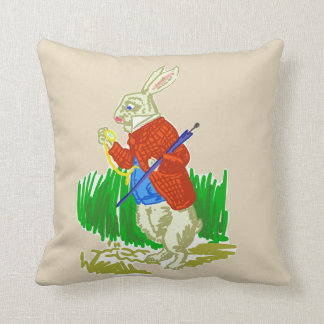 White Rabbit in a Dress Polyester Throw Pillow