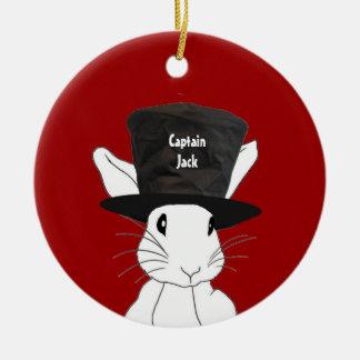 White Rabbit  in Top Hat Ornament