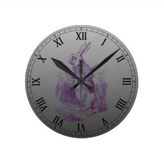 White Rabbit Letterpess Style Round Clock