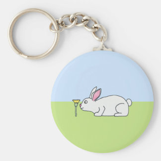 White Rabbit. On a Lawn. Basic Round Button Key Ring