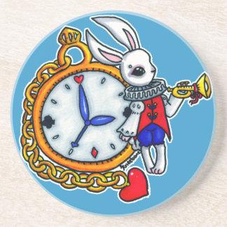 White Rabbit pocket watch Beverage Coaster