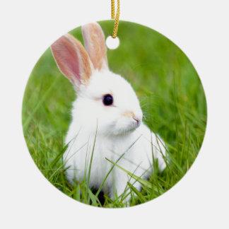 White Rabbit Round Ceramic Decoration