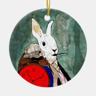 white rabbit round ceramic decoration