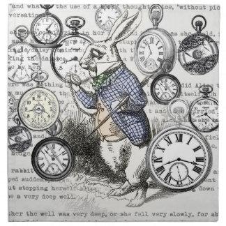 White Rabbit Time Alice in Wonderland Napkin