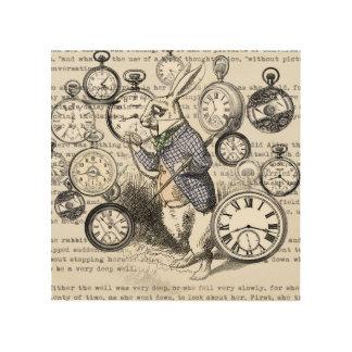 White Rabbit Time Alice in Wonderland Wood Wall Art
