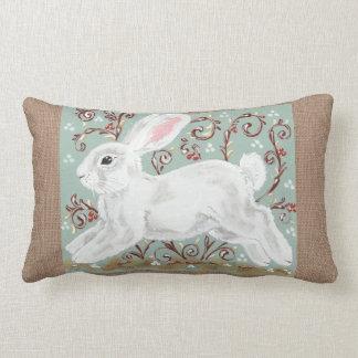 White Rabbit Vines Berries Green, Burlap Pillow