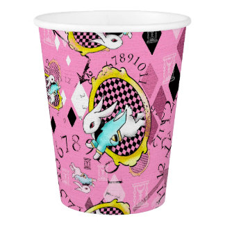 White Rabbit Wonderland paper party cups