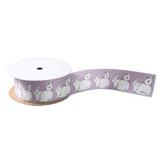 White Rabbits Lilac Mauve Satin Ribbon