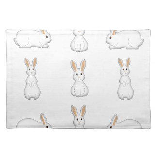 white rabbits placemat