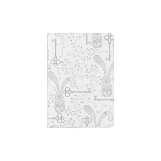 White Rabbits & Skeleton Keys Wonderland Pattern Passport Holder