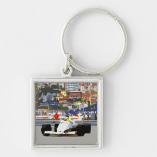 WHITE RACE CAR - City Circuit Key Ring