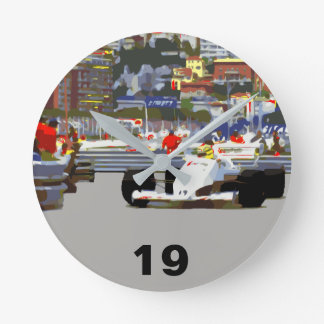 WHITE RACE CAR - City Circuit Round Clock