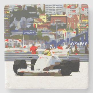 WHITE RACE CAR - City Circuit Stone Coaster