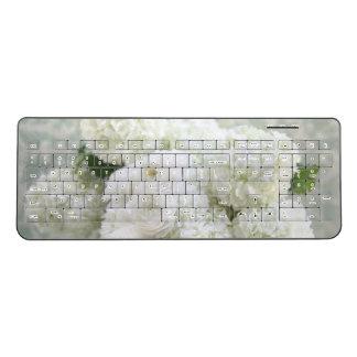 White ranunculus and hydrangeas wireless keyboard