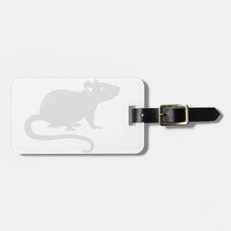 White rat luggage tag