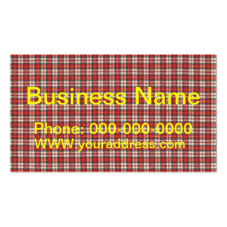 White Red and Black Tartan Plaid Textile Design Business Cards