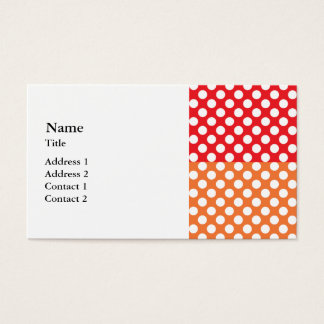 White, Red and Orange Polka Dot Business Card