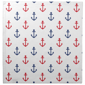 White Red Blue Nautical Anchor Pattern Cloth Napkins