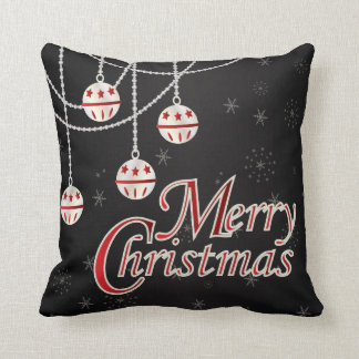 White & Red Christmas Ornaments on Black Throw Pillow