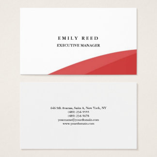 White red curves modern professional minimalist business card