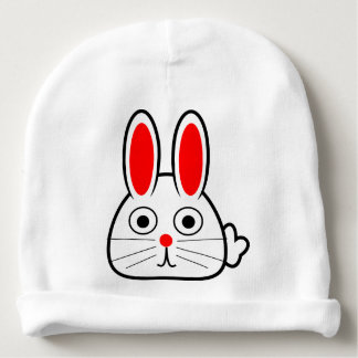White Red Easter Bunny for happy first easter Baby Beanie