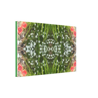 White & Red Flower Fractal Wrapped Canvas V Small