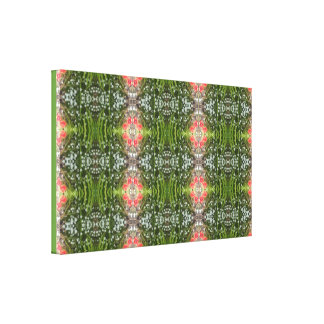 White & Red Flower Fractal Wrapped Canvas V Small Stretched Canvas Print
