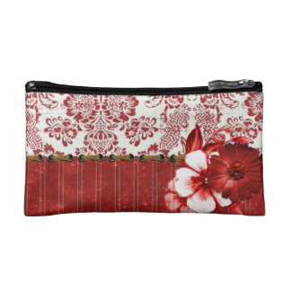 White & Red Flowers Cosmetic Bag