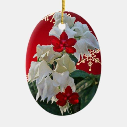 White & Red Fuschia Christmas Ornament