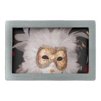 White / Red / Gold / Black Venetian Mask Belt Buckle