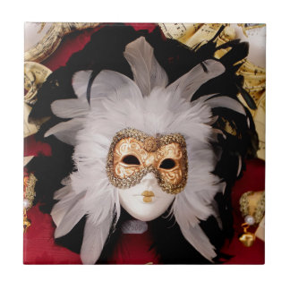White / Red / Gold / Black Venetian Mask Ceramic Tile