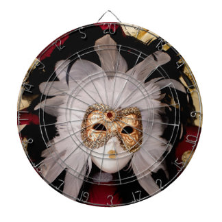 White / Red / Gold / Black Venetian Mask Dartboard