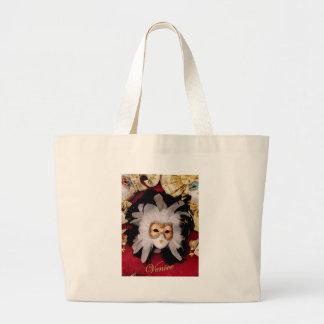 White / Red / Gold / Black Venetian Mask Large Tote Bag