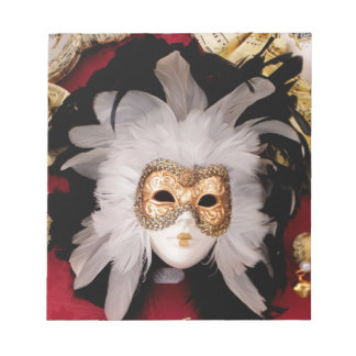 White / Red / Gold / Black Venetian Mask Notepad