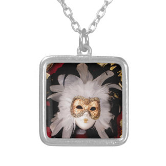 White / Red / Gold / Black Venetian Mask Silver Plated Necklace
