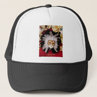 White / Red / Gold / Black Venetian Mask Trucker Hat