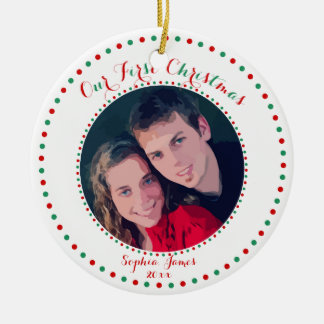 White Red Green First Christmas Together Ornament
