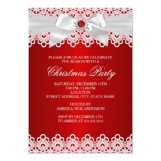 White Red Lace Jewel Bow Christmas Party Invite