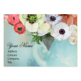 WHITE RED PINK ROSES AND ANEMONE FLOWERS MONOGRAM BUSINESS CARD TEMPLATE