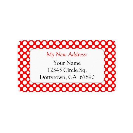 White Red Polka Dots Custom New Address Lables Label