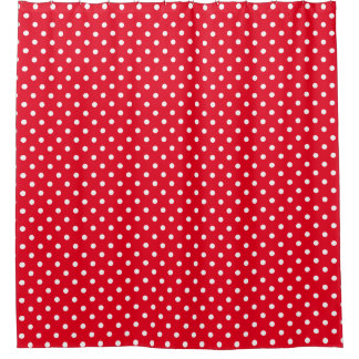 White RED Polka Dots Pattern Custom Background Shower Curtain