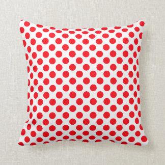 White Red - Polka Dots Pillow