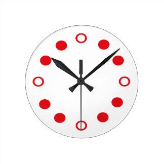 White Red Retro Modern Clock