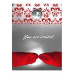 WHITE RED RIBBON DAMASK GEM STONE MONOGRAM 17 CM X 22 CM INVITATION CARD