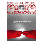 WHITE RED RIBBON DAMASK GEM STONE MONOGRAM PERSONALIZED ANNOUNCEMENTS