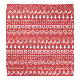 White/Red Rows Christmas Font Art Pattern Bandana