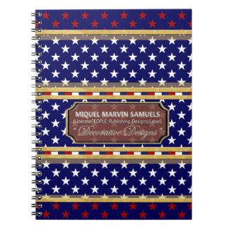 White Red Stars America Colours Modern Notebook