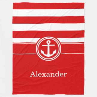 White Red Stripe Anchor CB Monogram Fleece Blanket