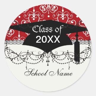 white red swirl chandelier heart damask graduation stickers